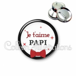 Badge 56mm Papi je t'aime (036NOI01)