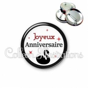 Badge 56mm Joyeux anniversaire (036NOI02)
