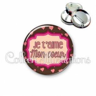 Badge 56mm Je t'aime mon cœur (039MAR04)