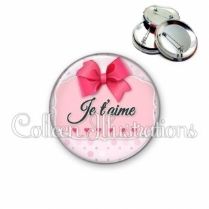Badge 56mm Je t'aime (039ROS01)