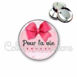 Badge 56mm Je t'aime pour la vie (039ROS01)