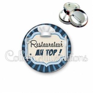 Badge 56mm Restaurateur au top (048BLE01)