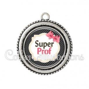 Pendentif résine Super prof (008NOI01)