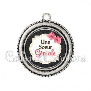 Pendentif résine Sœur géniale (008NOI01)