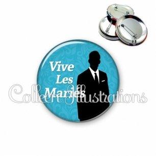 Badge 56mm Vive les mariés (051BLE01)