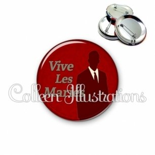 Badge 56mm Vive les mariés (051ROU01)