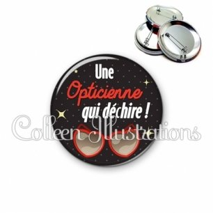 Badge 56mm Opticienne qui déchire (053NOI01)