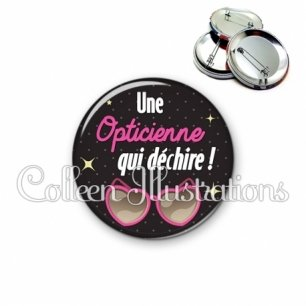 Badge 56mm Opticienne qui déchire (053NOI03)