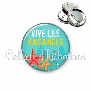 Badge 56mm Vive les vacances (069BLE01)