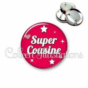 Badge 56mm Super cousine (074ROU02)