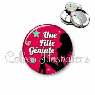 Badge 56mm Fille géniale (074ROU02)