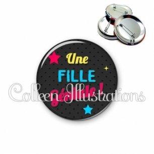Badge 56mm Fille géniale (085GRI01)