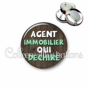 Badge 56mm Agent immobilier qui déchire (086MAR01)