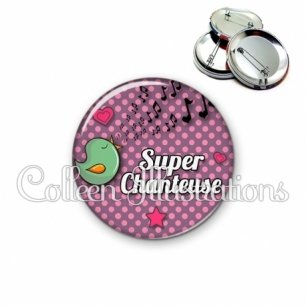 Badge 56mm Super chanteuse (087VIO03)