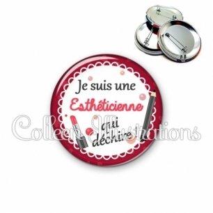Badge 56mm Esthéticienne qui déchire (090ROU01)
