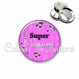 Badge 56mm Super musicienne (108ROS01)