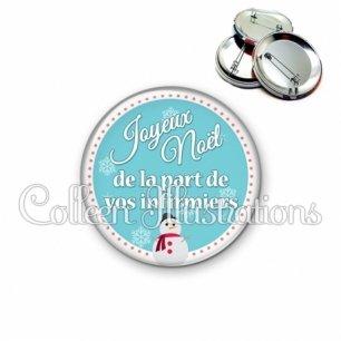 Badge 56mm Joyeux noël de la part de vos infirmiers (120BLE01)