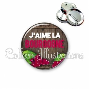 Badge 56mm J'aime la bourgogne (137MAR04)
