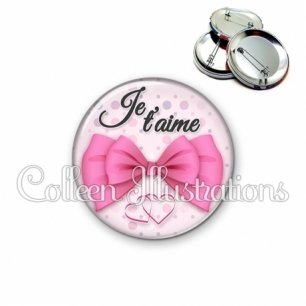 Badge 56mm Je t'aime (142ROS01)