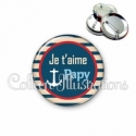 Badge 56mm Je t'aime papy (146BLE01)