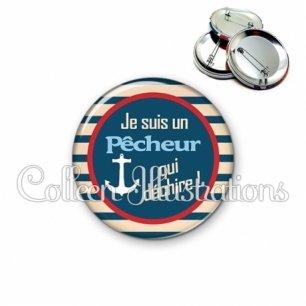 Badge 56mm Pêcheur qui déchire (146BLE01)
