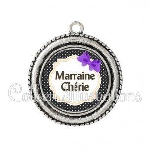 Pendentif résine Marraine chérie (008NOI16)