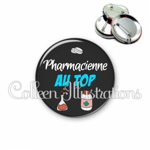 Badge 56mm Pharmacien au top (166GRI01)