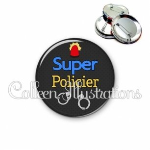 Badge 56mm Super policier (167GRI02)
