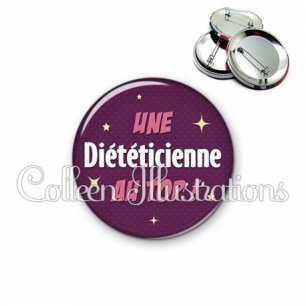 Badge 56mm Diététicienne au top (169VIO01)