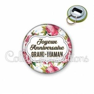 Décapsuleur 56mm Joyeux anniversaire grand-maman (006MUL09)