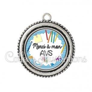 Pendentif résine Merci AVS (009BLE01)