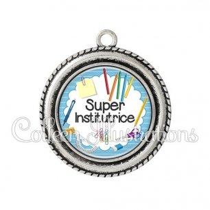Pendentif résine Super institutrice (009BLE01)