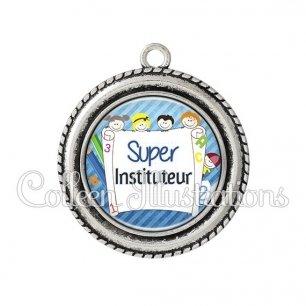 Pendentif résine Super instituteur (010BLE01)
