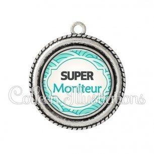 Pendentif résine Super moniteur (011BLE02)