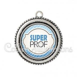 Pendentif résine Super prof (011BLE06)