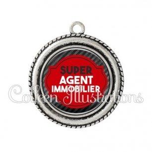 Pendentif résine Super agent immobilier (011NOI01)