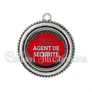 Pendentif résine Super agent de sécurité (011NOI01)