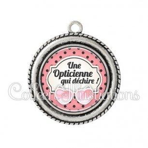 Pendentif résine Opticienne qui déchire (011ROS01)