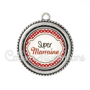 Pendentif résine Super marraine (011ROU01)