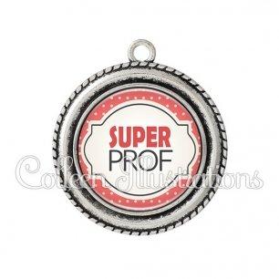 Pendentif résine Super prof (011ROU03)