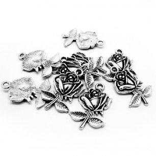 breloque rose couleur argenté pour bijoux