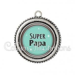 Pendentif résine Super papa (012VER01)