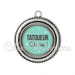 Pendentif résine Tatoueur au top (012VER01)