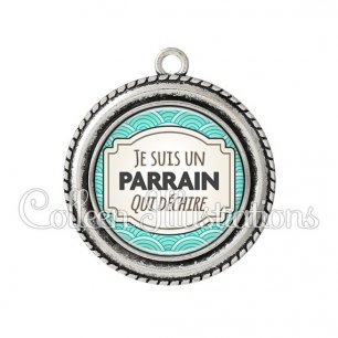 Pendentif résine Parrain qui déchire (013BLE04)