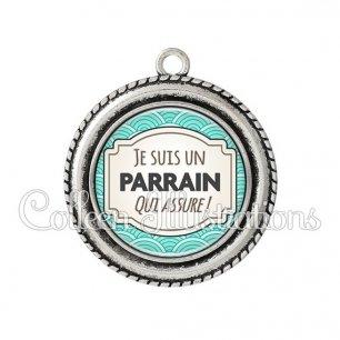Pendentif résine Parrain qui assure (013BLE04)