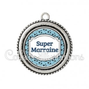 Pendentif résine Super marraine (013BLE10)