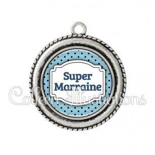 Pendentif résine Super marraine (013BLE11)