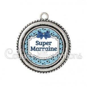 Pendentif résine Super marraine (013BLE12)