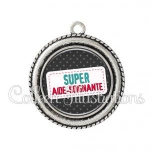 Pendentif résine Super aide-soignante (003NOI05)