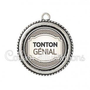 Pendentif résine Tonton génial (013GRI01)